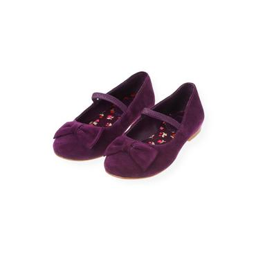 Plum Suede Bow Shoe at JanieandJack