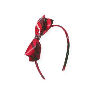 Holiday Red Plaid Bow Silk Plaid Headband at JanieandJack