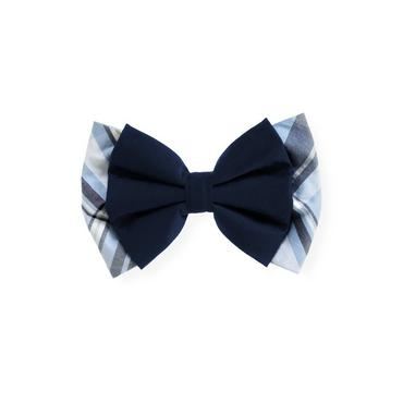 Winter Blue Plaid Bow Plaid Barrette at JanieandJack