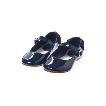 Navy Rose Bow Leather Shoe at JanieandJack