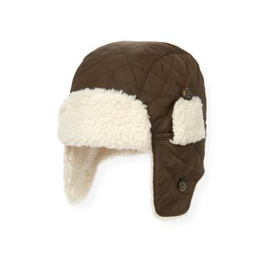 Boys Moose Brown Quilted Earflap Hat at JanieandJack