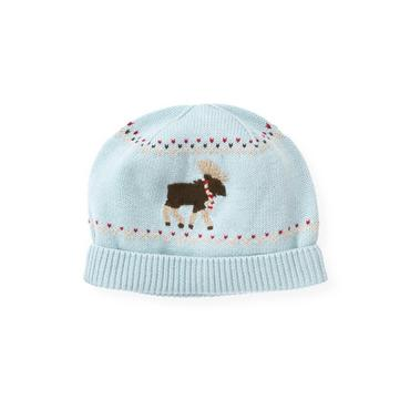 Boys Lake Blue Moose Fair Isle Hat at JanieandJack