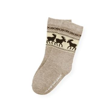 Boys Stone Khaki Moose Sock at JanieandJack