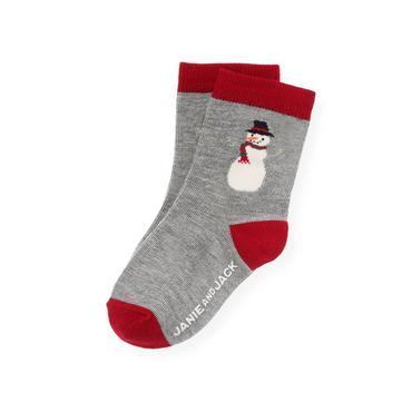 Boys Polar Grey Snowman Sock at JanieandJack