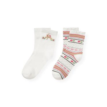 Jet Ivory/Holiday Rose Reindeer Fair Isle Sock Two-Pack at JanieandJack