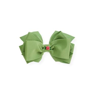 Winter Green Hand-Embroidered Bow Barrette at JanieandJack