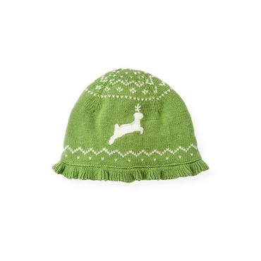 Winter Green Reindeer Fair Isle Hat at JanieandJack