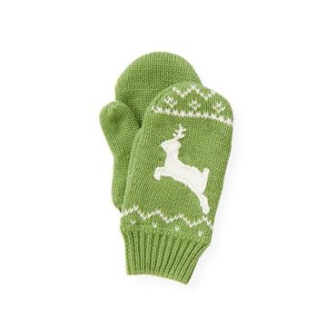 Winter Green Reindeer Fair Isle Mitten at JanieandJack