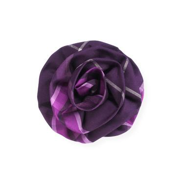 Royal Plum Plaid Rosette Barrette at JanieandJack