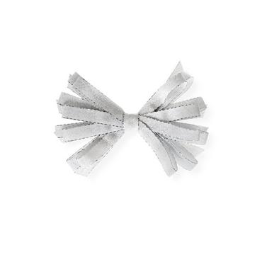 Metallic Silver Metallic Ribbon Loop Barrette at JanieandJack