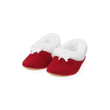Red Holly Faux Fur Trim Sweater Slipper at JanieandJack