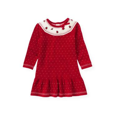 Red Holly Hand-Embroidered Fair Isle Sweater Dress at JanieandJack