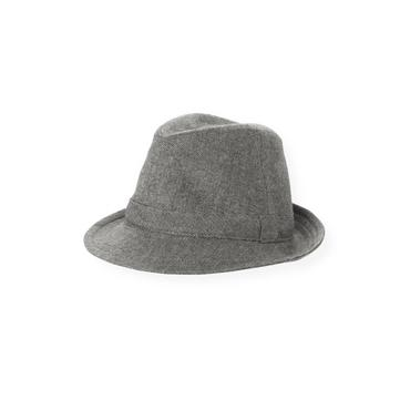 Boys Dark Grey Herringbone Herringbone Fedora Hat at JanieandJack