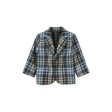 Classic Navy Plaid Glen Plaid Wool Suit Blazer at JanieandJack
