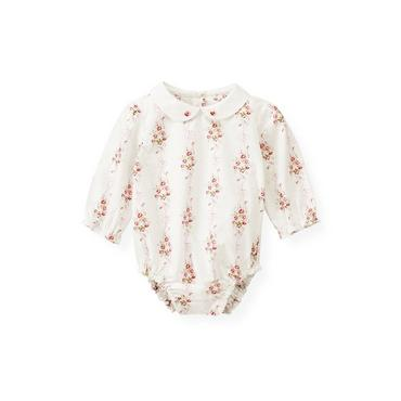 Baby Girl Rose Ribbon Floral Hand-Embroidered Collar Floral Bodysuit at JanieandJack