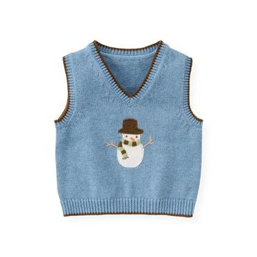 Baby Boy Winter Sky Blue Snowman Sweater Vest at JanieandJack