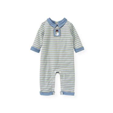 Baby Boy Winter Sky Stripe Snowman Stripe Padded One-Piece at JanieandJack