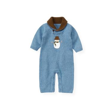 Baby Boy Winter Sky Blue Snowman Sweater One-Piece at JanieandJack