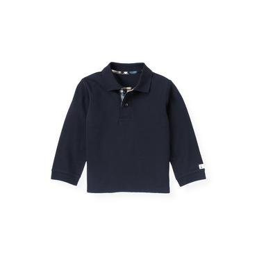 Boys Marine Navy Elbow Patch Polo Shirt at JanieandJack