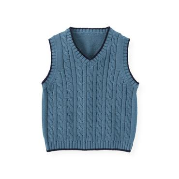Lighthouse Blue Cable Sweater Vest at JanieandJack