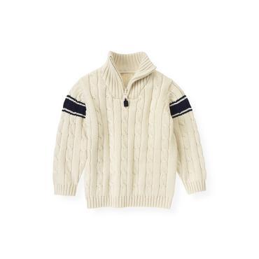Ivory Cable Stripe Sweater at JanieandJack