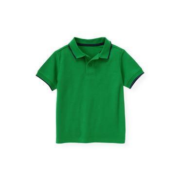 Boys Turtle Green Tipped Polo Shirt at JanieandJack