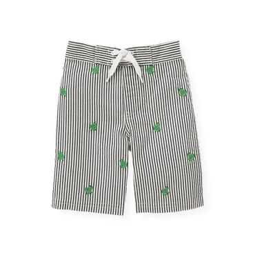 Seersucker Navy Stripe Turtle Seersucker Swim Trunk at JanieandJack
