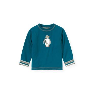 Marine Blue Reversible Penguins Tee at JanieandJack