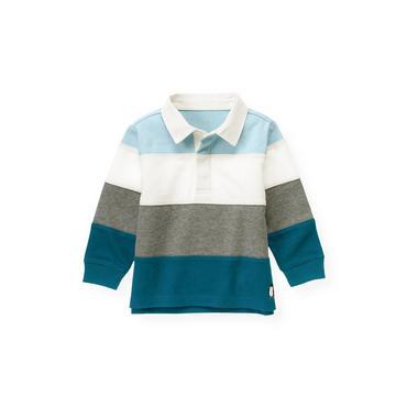 Marine Blue Stripe Pieced Stripe Rugby Shirt at JanieandJack