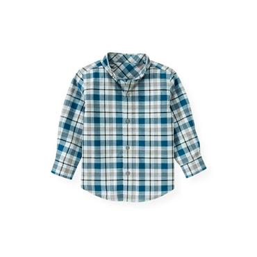 Marine Blue Plaid Plaid Shirt at JanieandJack