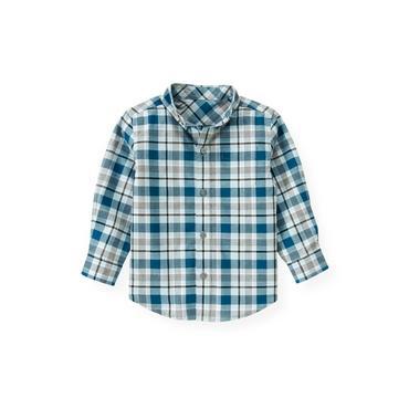 Marine Blue Plaid Plaid Shirt at JanieandJack