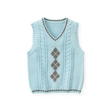 Polar Blue Argyle Cable Sweater Vest at JanieandJack