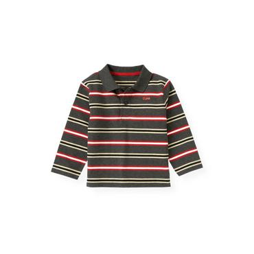 Boys Gray Stone Heather Stripe Stripe Polo Shirt at JanieandJack
