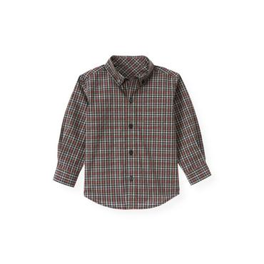 Gray Stone Heather Check Tattersall Shirt at JanieandJack