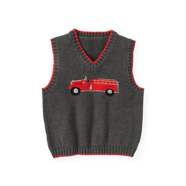 Gray Stone Heather Fire Engine Sweater Vest at JanieandJack
