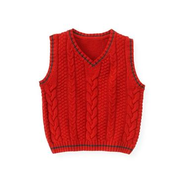 Fire Engine Red Cable Sweater Vest at JanieandJack
