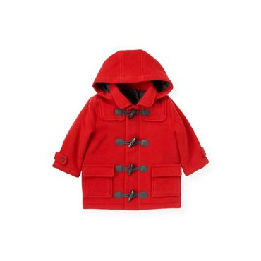 Fire Engine Red Melton Duffle Coat at JanieandJack
