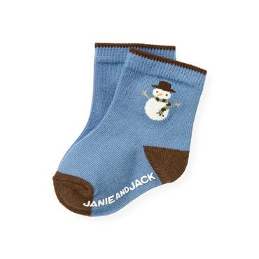 Baby Boy Winter Sky Blue Snowman Sock at JanieandJack