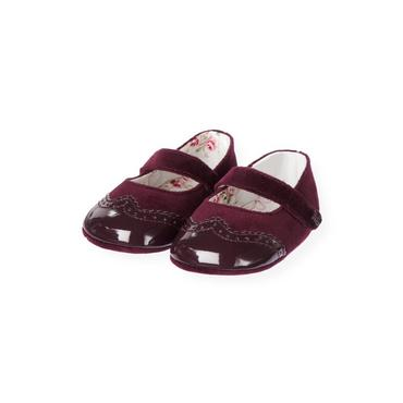 Baby Girl Rich Purple Patent Velveteen Crib Shoe at JanieandJack