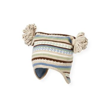 Baby Boy Oatmeal Fair Isle Fair Isle Sweater Hat at JanieandJack