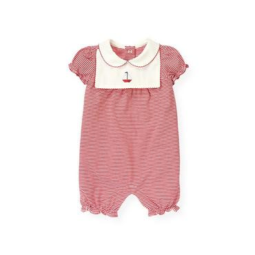 Baby Girl Nautical Red Stripe Sailboat Stripe Bubble at JanieandJack