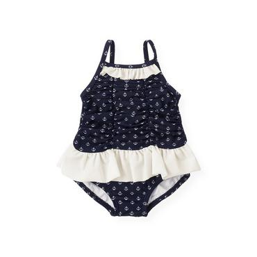 Baby Girl Nautical Navy Anchor Skirted Swimsuit at JanieandJack