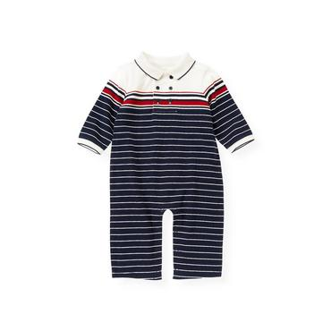 Baby Boy Nautical Navy Engineer Stripe Polo One-Piece at JanieandJack