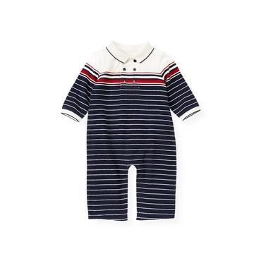 Baby Boy Nautical Navy Engineer Stripe Polo One-Piece at JanieandJack