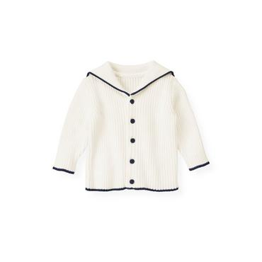 Baby Boy Jet Ivory Sailor Cardigan at JanieandJack