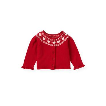 Baby Girl Valentine Red Heart Cardigan at JanieandJack