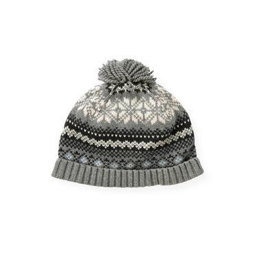 Boys Winter Grey Fair Isle Sweater Hat at JanieandJack