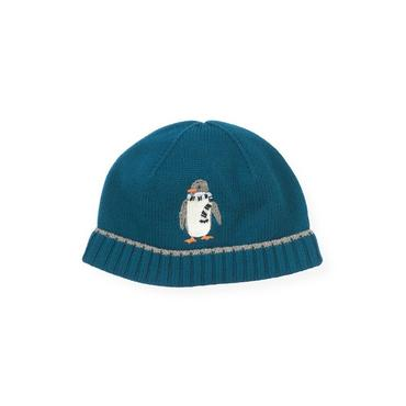 Boys Marine Blue Penguin Sweater Hat at JanieandJack