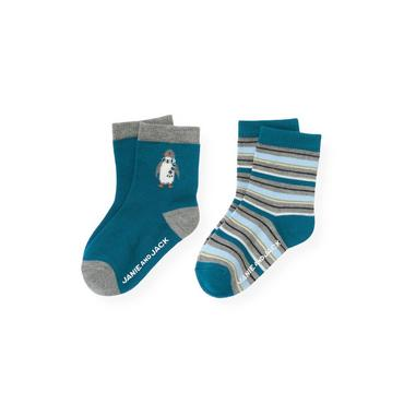 Boys Marine Blue Penguin Stripe Sock Two-Pack at JanieandJack