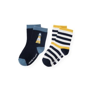 Boys Marine Navy Stripe Lighthouse Stripe Sock at JanieandJack